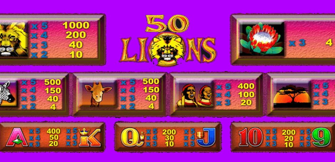 Play Free 50 Lions Aristocrat Pokies Game